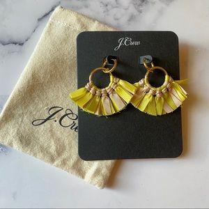 J. Crew Fabric Fan Earrings Yellow NWT